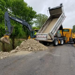MoDOT crews repair floodwater damage on Route J in Laclede County